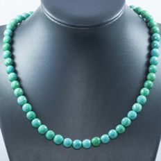 Faceted turquoise necklace with 18 kt gold - 45 cm 'No Reserve'