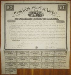 USA - Confederate States of America - 8% Loan (Act of February 28 1861) $50 1861 - Criswell 5