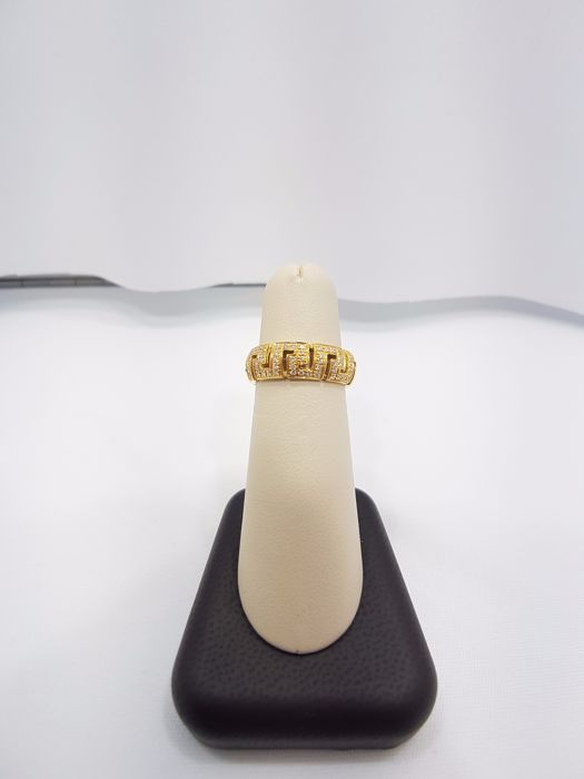 Versace Greca Collection 18ct Yellow Gold Ring with Diamonds, Size EU 52.5/Japanese 16.7/British M