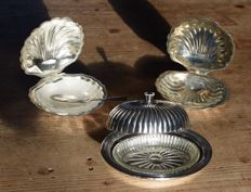 Three butter dishes, oval and shell shaped, England, 20th century
