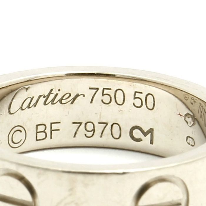 "Cartier ""Love"" 18K White Gold Ring Weight 6 6 Grams Size"