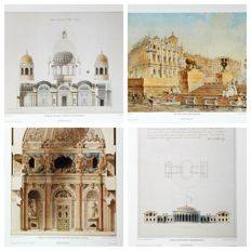 Set of 4 Russian Fabulous Litho Architecture Views in Saint Petersburg