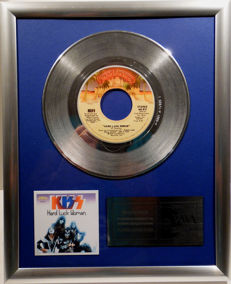 "KISS - Hard Luck Woman - 7"" Single Casablanca Records platinum plated record by WWA Awards"