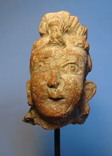 Head of Buddhist Deity/Buddha - Clay/Terracotta on Wood Mount - 41 x 13 cms total size