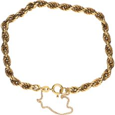 14 kt Yellow gold rope link bracelet with a safety chain - Length: 21 cm.