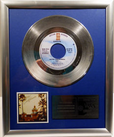 "The Eagles - Hotel California - 7"" Single Asylum Records platinum plated record by WWA Awards"