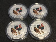 Australia -  4 x 0.25 AUD - Lunar II Year of the Rooster - 999 silver in fine colour edition