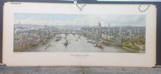 Vintage school poster: The city of London. A view of the port from the Thames at this port city