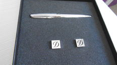 S.T. DuPont set of cufflinks and pen in palladium.