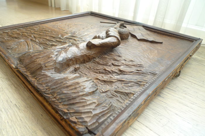 Wwi era relief carved oak memorial panel german first