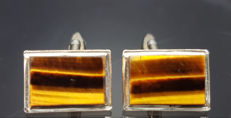 9K white gold plated vintage tigers eye cuff links for men, ca.  1960 / 1969