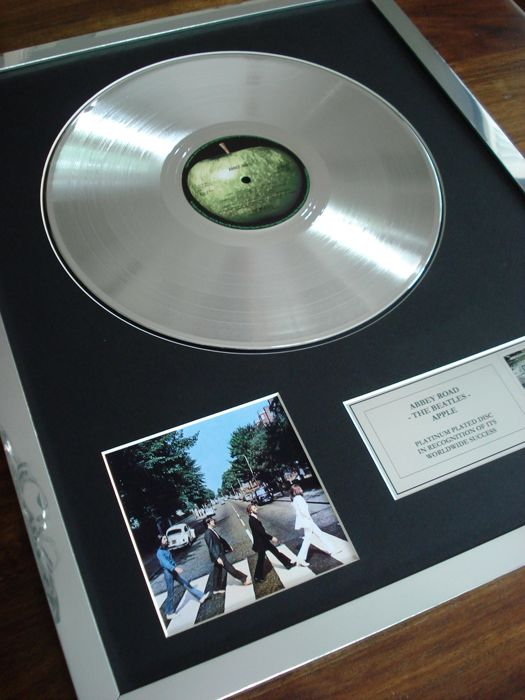 The Beatles Abbey Road Platinum Plated Disc Record LP Album Award
