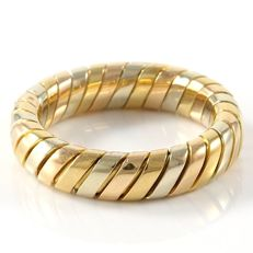 "Bvlgari - ""Tubogas"" 18K Tricolor Gold Band Ring - Size: 6.75"