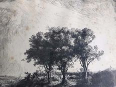 "After Rembrandt Harmensz van Rijn (1606-1669) - ""The Three Trees"" - 1643 - Probably a late print (19th century)"