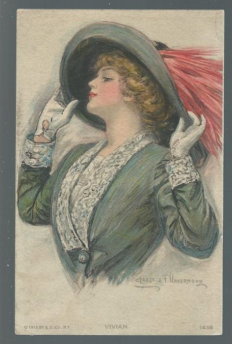 Lot of 30 superb postcards, young woman with hat, all signed by the well-known illustrators like Boileau-Barber-Butcher-Powell-Belwing etc........