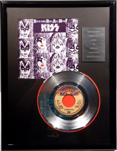 "KISS - Rock and Roll All Night - 7"" Single Casablanca Records platinum plated record Special Edition"