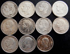 Spain - Alfonso XII and Alfonso XIII - 11 coins of 50 silver cents from 1880 to 1926.