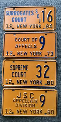 NEW YORK state - 4  JUDGES & COURTS  license plates