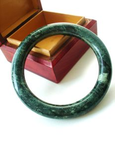 Genuine Jade Bracelet, dark cloudy green bangle,  vintage 1960's,  43.83 grams