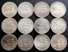 Spain - Provisional Government - 12 silver 2 peseta coins from 1870.