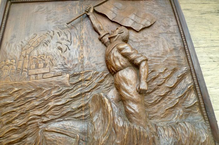Wwi era bas relief carved oak memorial panel catawiki