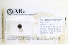 Diamond - 0.63ct - brown with AIG certificate - low reserve