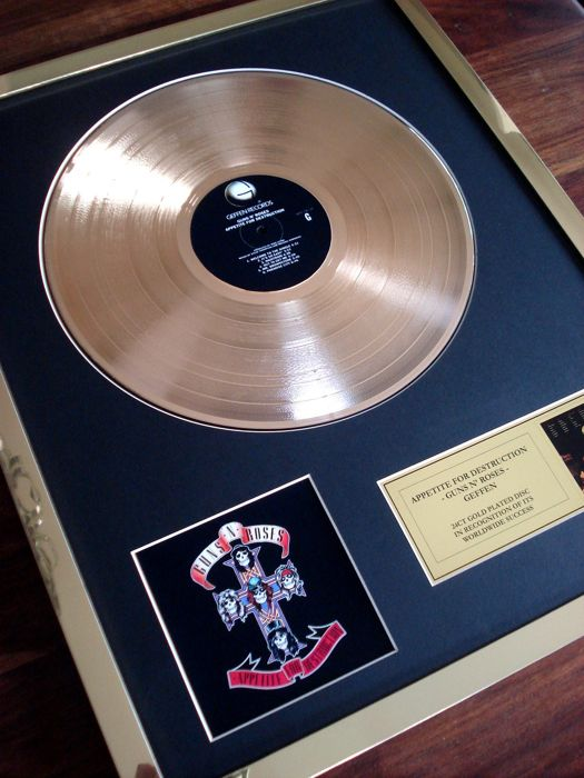 Guns N' Roses Appetite For Destruction 24ct Gold Plated Disc Record LP Album Award