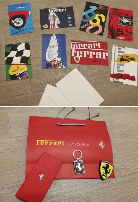 Ferrari - pendant - carbon fibre and steel keyring and Ferrari emblem magnet, no. 8 postcards with envelopes