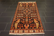 Old Persian carpet Malayer Hamadan, 100 x 200 cm, natural dyes, made in Iran