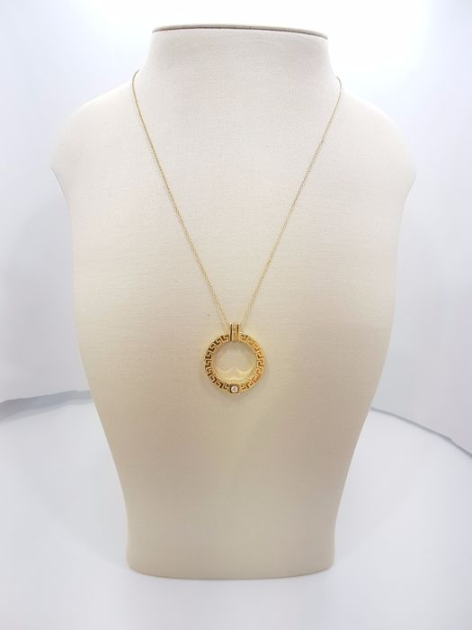 Versace Greca Collection 18ct Yellow Gold Diamond Pendant - Length of Necklace 46 cm & Length of Pendant 3 cm