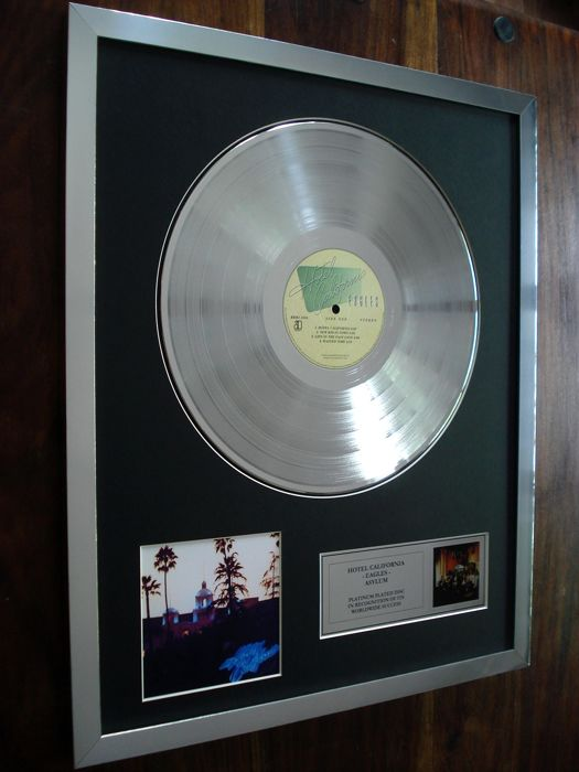 The Eagles Hotel California Platinum Plated Disc Record LP Album Award