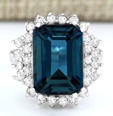 11.55 Carat London Blue Topaz in 14K Solid White Gold Diamond Ring *** Free shipping *** No Reserve *** Free Resizing ***