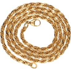 14 kt Yellow gold solid fantasy link necklace - Length: 44 cm