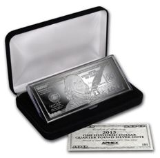 USA: $100 silver bullion - banknote - 2015, 4 oz fine silver, in a fine box with certificate