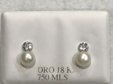 Stud Pearl earrings with zirconias in 18 kt White Gold – Freshwater Pearls Stud 5 mm