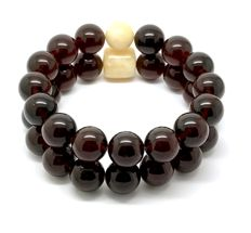 2x bracelets of Baltic amber beads ø12 mm - cherry translucent, weight 29.4 grams