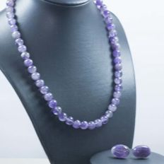 18 kt/750 Gold set of Amethyst Necklace and Earrings