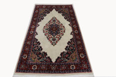 Fine Sarouk, Persian carpet, cream, 2.15 x 1.33, genuine hand-knotted oriental carpet, rare, top condition