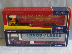 Corgi - Scale 1/50 - Lot with 2 x lorries: DAF Longs of Leeds and Renault Kent Connection haulage