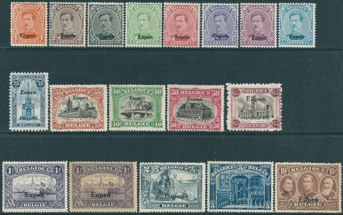 "Belgium 1920 - Occupation stamps with imprint ""Eupen"" - OBP OC84/100 and OC97a"
