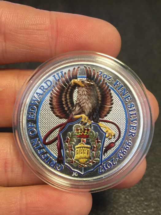 United Kingdom - £5 - 2 oz - The Queen's Beasts - The Griffin - 2017 - Colour Edition - 999 Silver Coin - Edition of only 2000 pieces