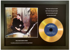 George Michael Preprinted Autograph, Gold Disc & text Presentation