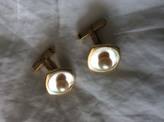 14kt gold cuff links with mother of pearl and pearl, circa 1965