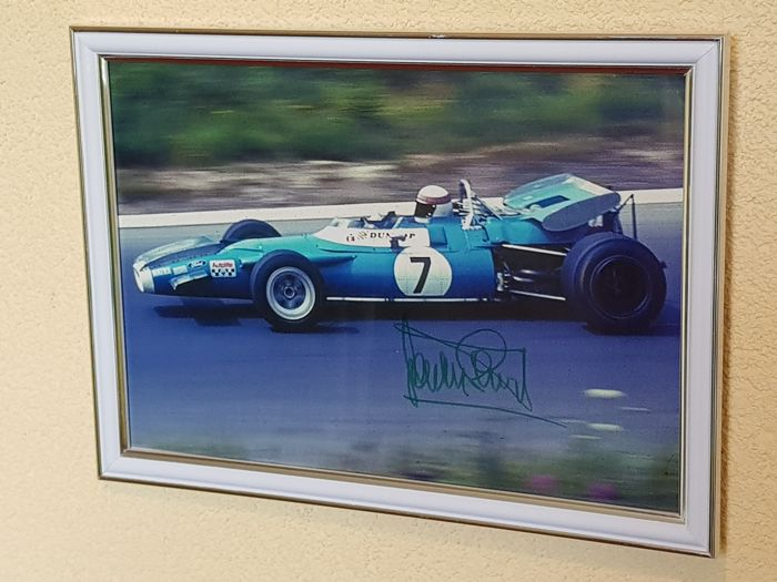 "Jackie Stewart - 3 x world champion Formula 1 - original autographed framed large photo ""The Green Hell, Nurburgring"" + COA."