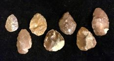 Mid - Paleolithic lot of seven big artifacts   -  39 / 54 / 52 / 48 / 54 / 54 / 64  mm  (7)