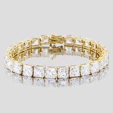14KT yellow gold bracelet set with 26 created moissanites- Total Length : 7 inches *