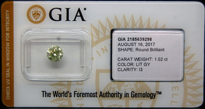 1.02 ct Certified Fancy Light Green-Yellow Diamond  - NO RESERVE