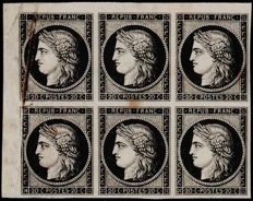 France 1849 - Block of 6 Cérès 20 centimes, black, very rare variety of accordion fold - Yvert 3