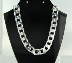 Silver (925) curb link necklace - 70 cm long