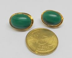18 kt  yellow gold earrings with malachite gemstones
